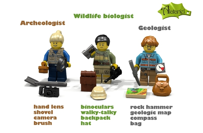 Female Archeology, Geology, Wildlife Biology Legos (Finally!)