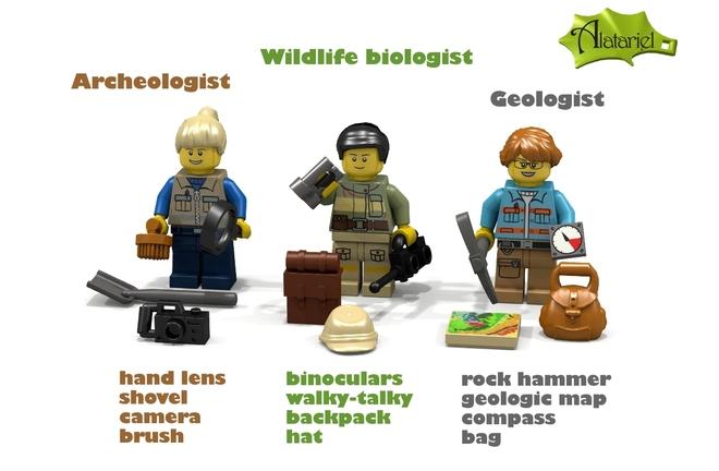 Female Archeology, Geology, Wildlife Biology Legos (Finally!)